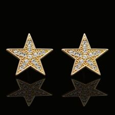 14K Solid Yellow Gold Created Diamond Star Shape Stud Earrings