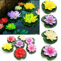 10pcs Artificial Lotus Leaf flowers Water Lily Floating Pool Plants Garden Decor