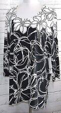 SOUTHERN LADY WOMEN SIZE L BLACK WHITE FLORAL ELEGANT TUNIC TOP BLOUSE SHIRT