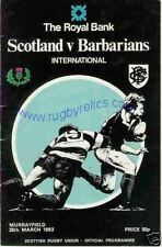 SCOTLAND v BARBARIANS 1983 RUGBY PROGRAMME