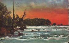 American Rapids At Sunset ~ Niagara Falls NY Leaving Lake Erie Vintage Postcard