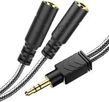 Headphone Splitter, Male to 2 Female 3.5 mm Splitter TRS Stereo, PC -8inch Black