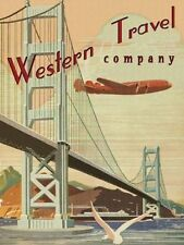 Western Travel Co. Airplane Plane Flight Fly Aviation  Metal Sign
