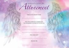 12 x Blank Angelic Reiki Attunement Certificates, High Quality A4 Card &  HP