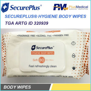 SecurePlus Hygiene Body Wipes 80 Wipes With Aloe Vera for Nursing home Age Care