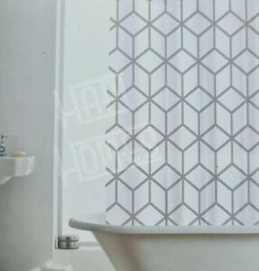 Geo White Grey Polyester Geometric Print Shower Curtain 180x180cm Hooks Rings