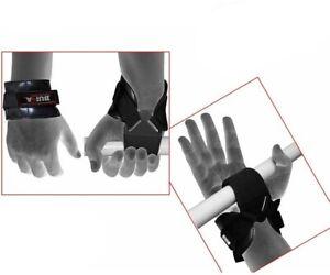 BUKA Weight Lifting Reverse Hook Wrist Straps Hand Bar Grip Support Gym Wraps