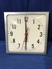 "10 5/8"" American Time Square Electric Slave School Wall Clock Missing back cover"