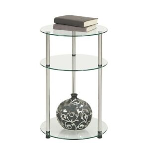 Convenience Concepts Designs2Go Classic Glass 3 Tier Round Table, Glass - 157007