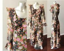 Ruffle Chiffon Vintage 70s Black Floral Garden Mod Dress Print Sheer Maxi Sz M
