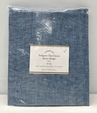 NEW Pottery Barn Belgian Flax Linen SHEER Tie-Top 50 x 96 Curtain~Chambray Blue