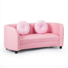 2 Seat Kids Sofa Comfort Armrest Chair w/2 Pillows Children Gift Pink