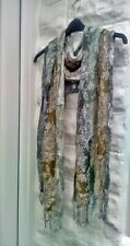 ladies scarf green and cream floral, silver threads - christmas - party - prom