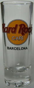 "Hard Rock Cafe BARCELONA 4"" SHOT GLASS Classic HRC LOGO Black Text TAIWAN Bottom"