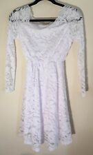 Fan Shou Vintage Floral Lace Cocktail Swing Dress With 3/4 Sleeves White XS