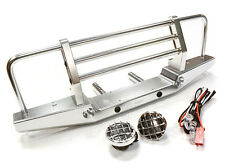 Integy INTC26375SILVER Metal Front Bumper w/LED Axial SCX-10 43mm Mount