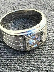 Men's REAL Solid 925 Silver Solitaire ring Man Made Diamonds ring