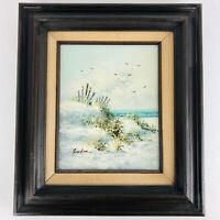VINTAGE beach seascape coast ocean original hand painted oil Painting Signed