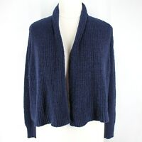 Chicos Cropped Cardigan Sweater Sz 3 XL Navy Blue Chunky Long Sleeve Open Front