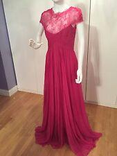 $4,000 MONIQUE LHUILLIER Lace Chiffon Pink Gown,size 6