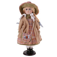 MagiDeal 40cm Porcelain Doll Victorian Girl People Figures w/ Stand Kid Gift