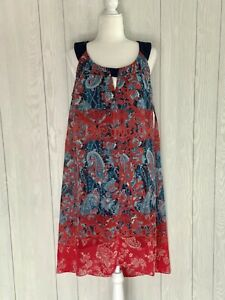 Dress Barn Red Blue Paisley Print Sleeveless Dress Size 14 NEW WITH TAGS
