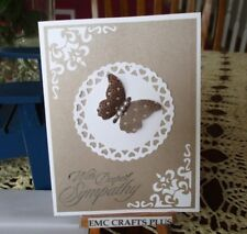 """WITH DEEPEST SYMPATHY BLANK GREETING  CARD  ~ 4.25 x 5.5"""" #EMC047 BUTTERFLY"""