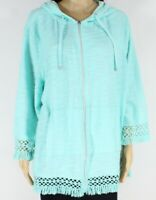 Multiples Womens Jacket Teal Green Size 1X Plus Zip Front Hooded $75- 540