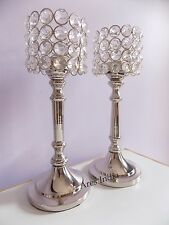 New Crystal Votive Tealight Candle Holders Wedding Centerpieces Candelabra 2pcs