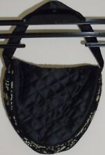 Ladies Small Black/Gold Handbag with Floral Lace Detail