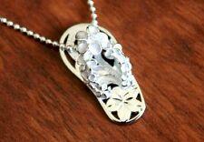 Hawaiian Jewelry  925 Sterling Silver PLUMERIA SLIPPER Pendant Necklace SS1021