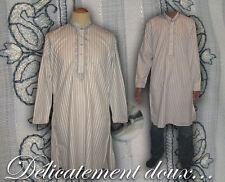 Jolie Tunique indienne, chemise longue unisexe avec col mao et 2 poches - tu3-B