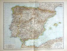 1895 LARGE VICTORIAN MAP ~ SPAIN & PORTUGAL ~ MAJORCA MADRID LISBON