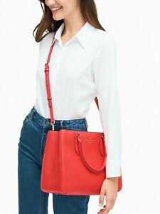 Kate Spade Leighton Red Leather Large Satchel Crossbody Bag WKR00168 $399 Ret FS