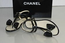 New Chanel BOW PEARLS Black Leather CC Flats Thong Sandals Shoes 36.5 39.5