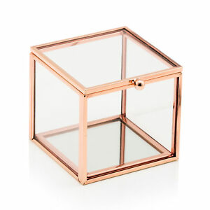 Jewellery Box Rose Gold with Mirrored Base