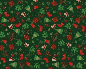 cotton 100% Christmas GREEN ice skates, trees, stars, doves, baubles, snowflakes