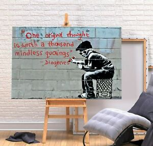 BANKSY THOUGHT 20X30 INCH FRAMED CANVAS ART WALL HANGING COVERING HOME DECOR