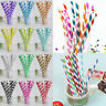 25/50/100PCS Colorful Paper Drinking Straws Striped Birthday Party Wedding Decor