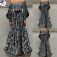 Women Sequins Glitter Off Shoulder Maxi Dress Ladies Evening Charity Party Dress