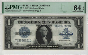 1923 $1 SILVER CERTIFICATE NOTE FR.237 SPEELMAN WHITE PMG CHOICE UNC 64 EPQ(321D