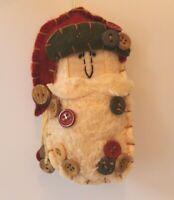 Weird Santa Claus Felt Stuffed Christmas Tree Ornament Button Accents Plush Odd
