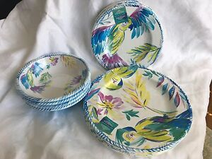 ARTISTIC ACCENTS NWT 12 PC MELAMINE DINNERWARE TROPICAL FLORAL  SERVICE 4