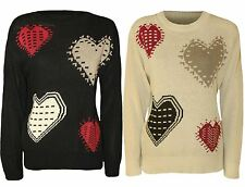 New Ladies Love Heart Print Winter Knit Wear Sweat Shirt Jumper Tops 8-14