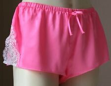 Womens French Knickers Silky Shiny Satin Panties Pink Lace Sissy Lingerie S