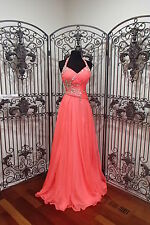 BD276 CASSANDRA STONE 64833 NEON CORAL SZ 0 $418 #133 HALTER  DRESS GOWN NWT