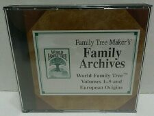 Broderbund Family Tree Maker World Family Tree Vols. 1-5 And European Origins E1