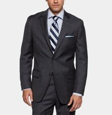 $400 Tasso Elba Men's Wool Charcoal Plaid 42R Classic Fit Suit Jacket Blazer