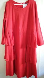 Moonshine Fashion Lagenlook - Sweat Kleid - Gr. 44-48 - Rot - Volants - NEU
