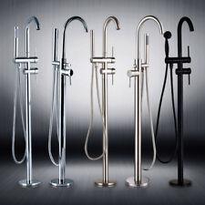 Bath Floor Stand Mounted Bathtub Faucet Mixer Tap Hand Shower Tub Filler Faucet